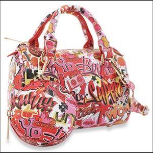 Graffiti Print 2 Piece Handbag Set